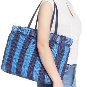 Kate spade stripe straw large tote blue bag blue